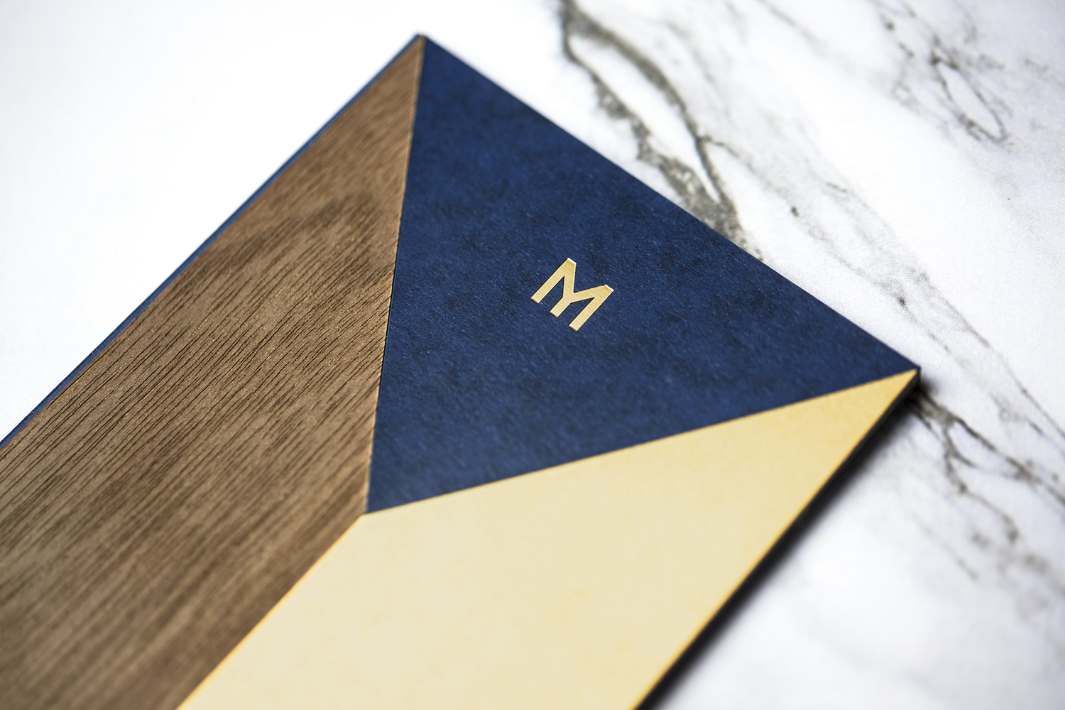 Logo and receipt holder with inlaid cover by Bibliothèque for Monica Galetti's new London restaurant Mere