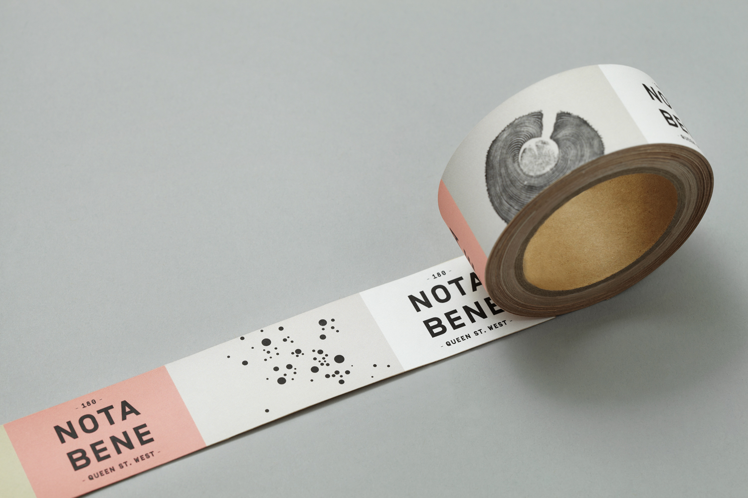 Brand identity and stickers for Toronto restaurant Nota Bene by graphic design studio Blok, Canada