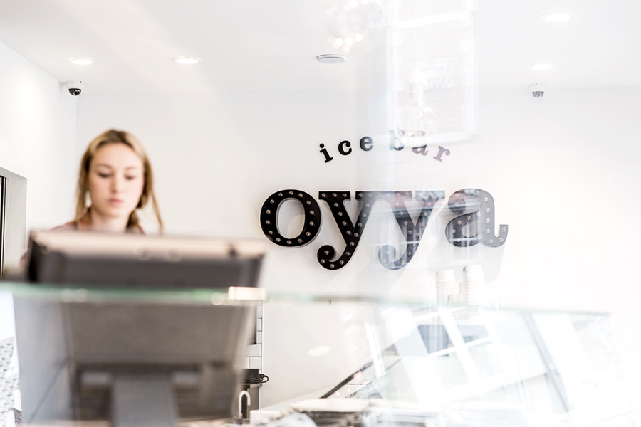 Logotype and signage designed by Skinn for Bruges ice bar Oyya