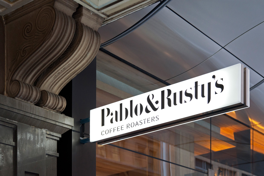 Sign design and stencil cut serif logotype for Sydney based roaster Pablo & Rusty's designed by Manual