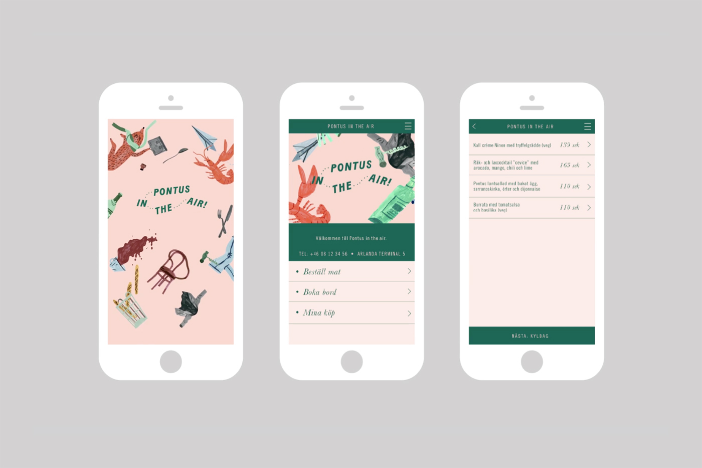 Brand identity and mobile app by Stockholm-based Bold for Arlanda Airport restaurant Pontus In The Air