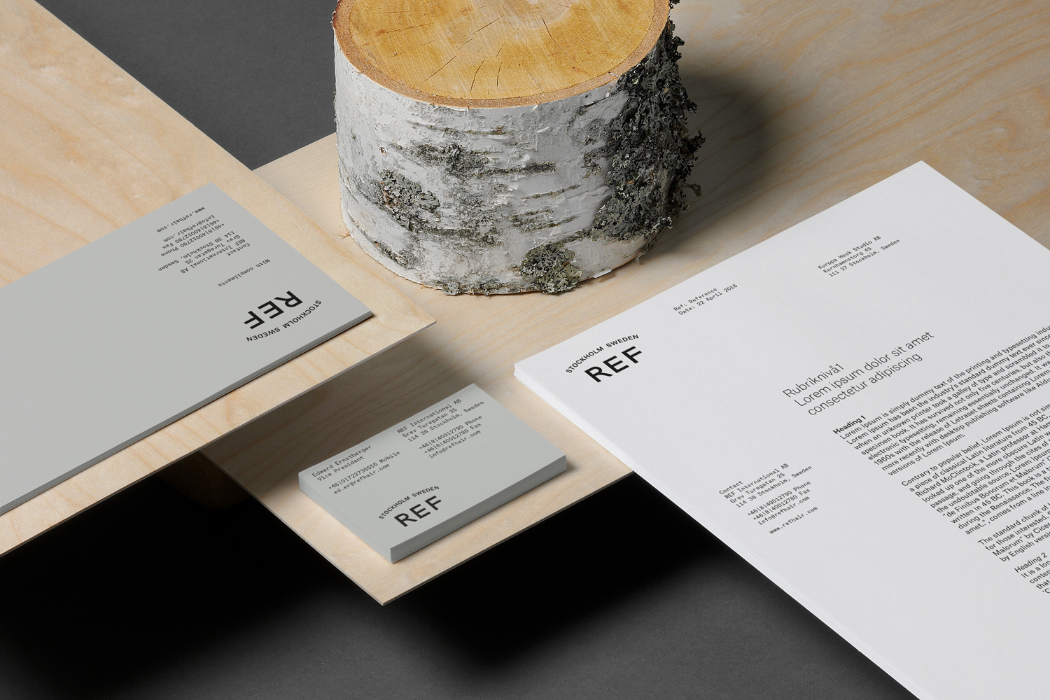 Visual identity and business card designed by Scandinavian studio Kurppa Hosk for Swedish hair care brand REF