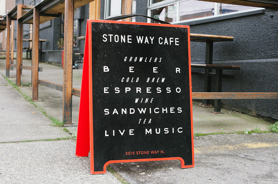 Blackboard for Stone Way Cafe designed by Shore