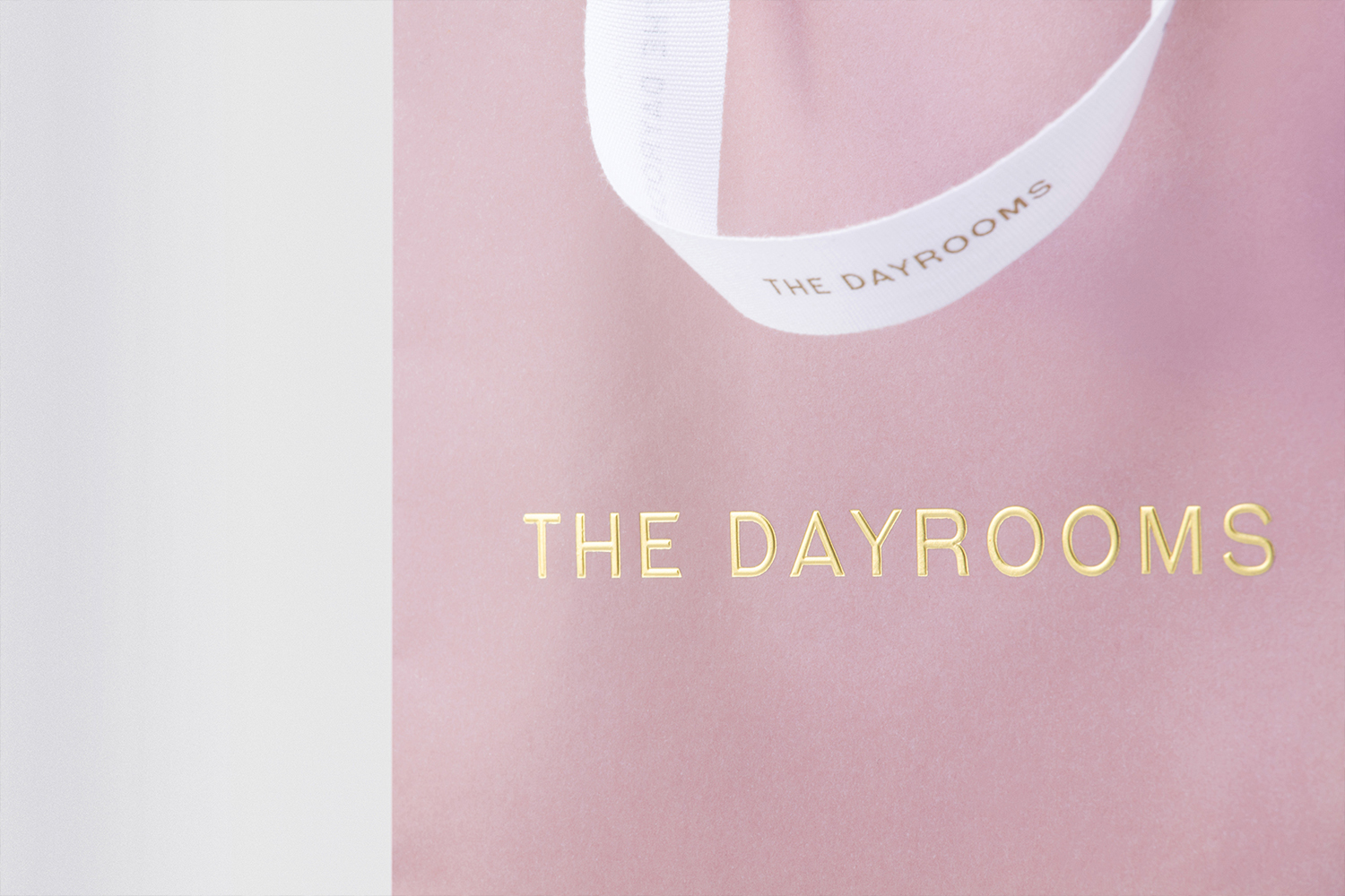 Shopping bag with pink card and gold foil detail by Two Times Elliott for Australian fashion boutique in London The Dayrooms