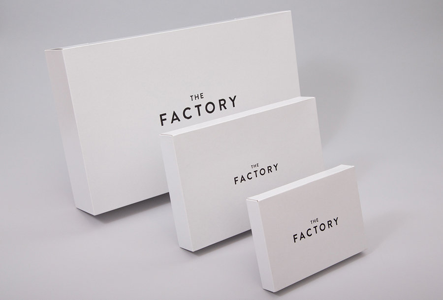 Branded boxes for Oklahoma City fashion store The Factory graphic design studio Ghost
