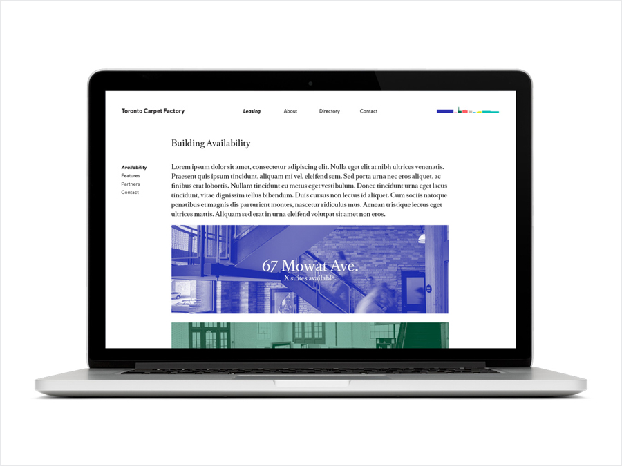 Brand identity and website for Toronto Carpet Factory by graphic design studio Bruce Mau Design