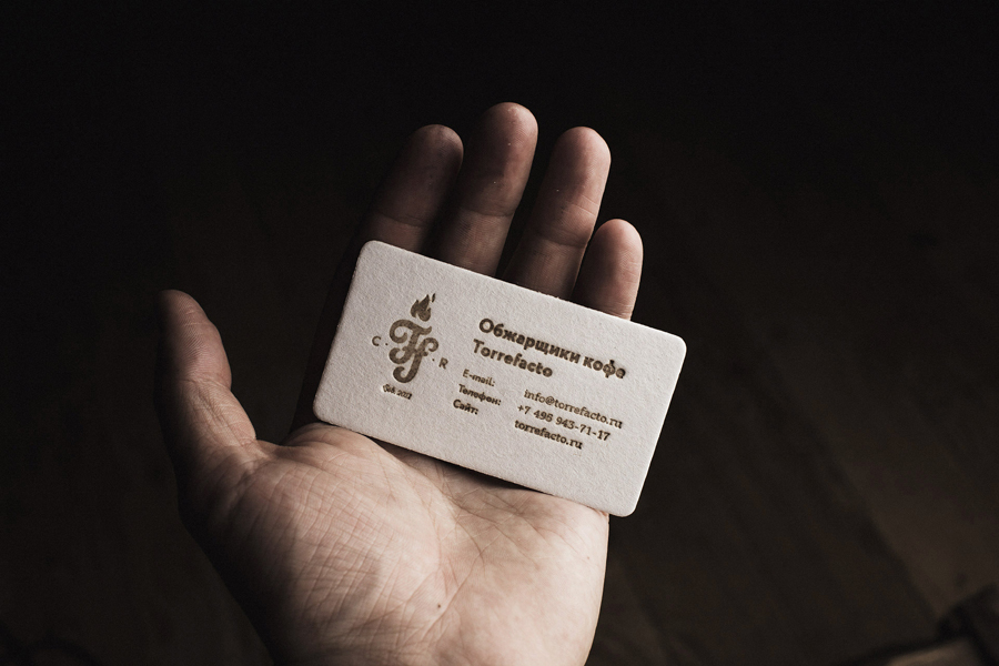 Heat stamped business card for Torrefacto Coffee by Moscow based Fork