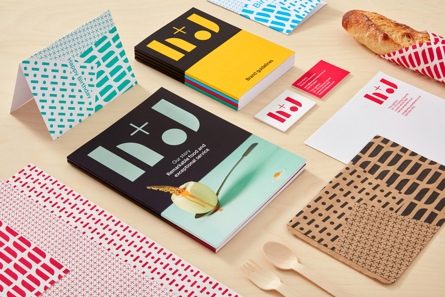 Logo, branding and print by London-based studio Spy for catering business H+J