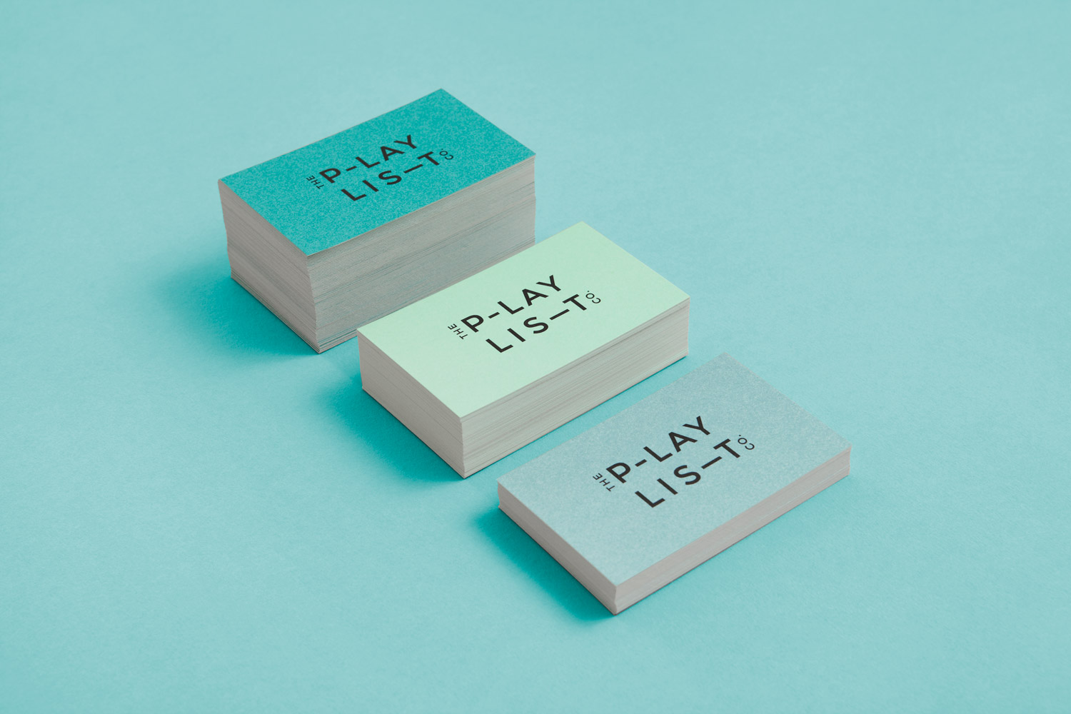 Brand identity and business cards for Toronto based custom soundtrack business The Playlist Co. by graphic design studio Blok