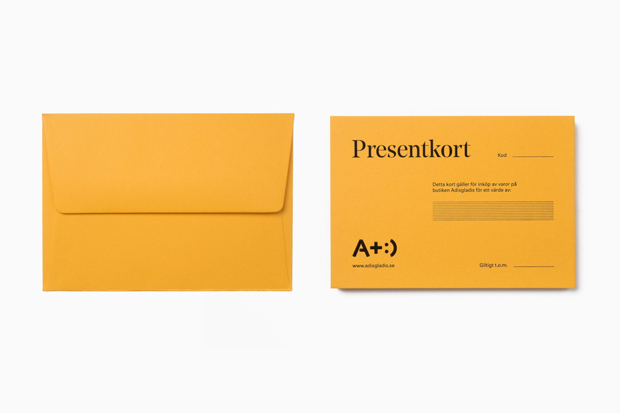 Black block foiled stationery designed by Bedow for Swedish clothing and gadget retailer Adisgladis