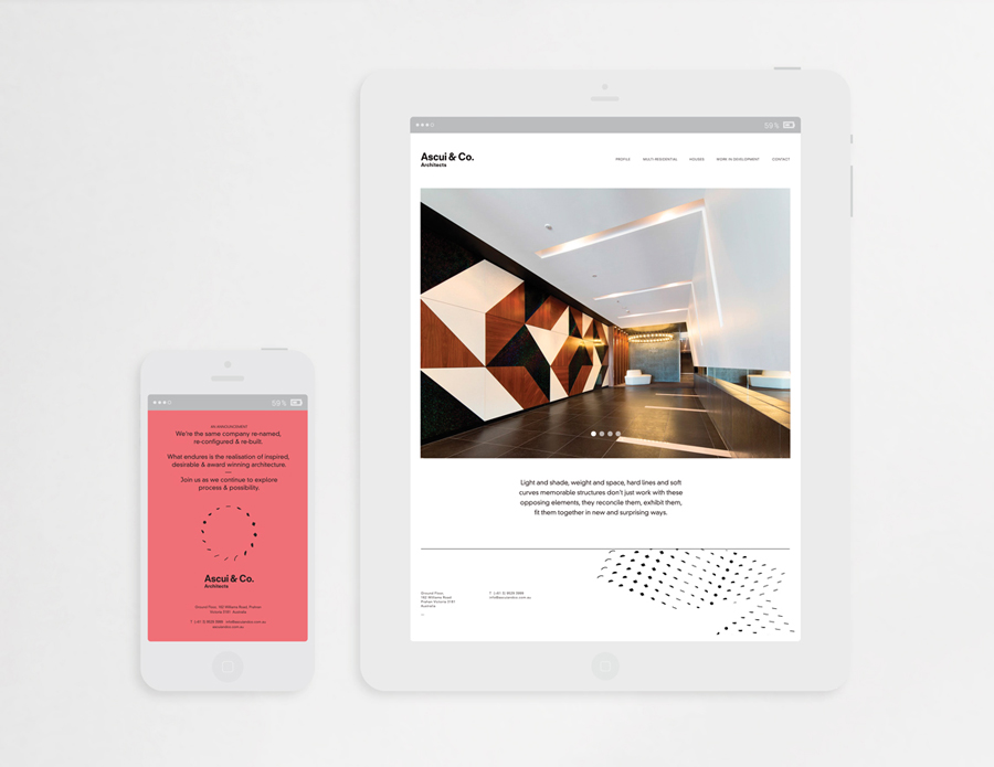 Visual identity and website by Grosz Co. Lab for architectural practice Ascui & Co.