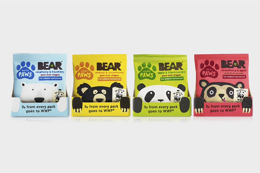 Packaging design and character illustration by B&B Studio for pure fruit range Bear Paws
