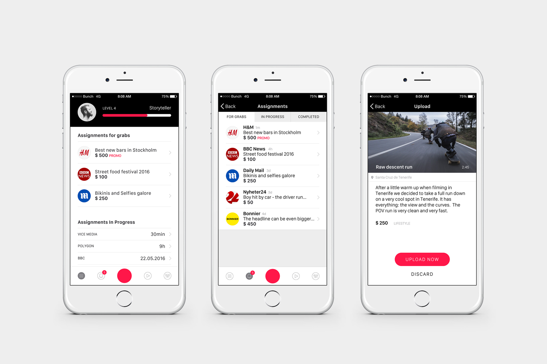 App platform designed by Bunch for San Francisco based tech start-up Capt