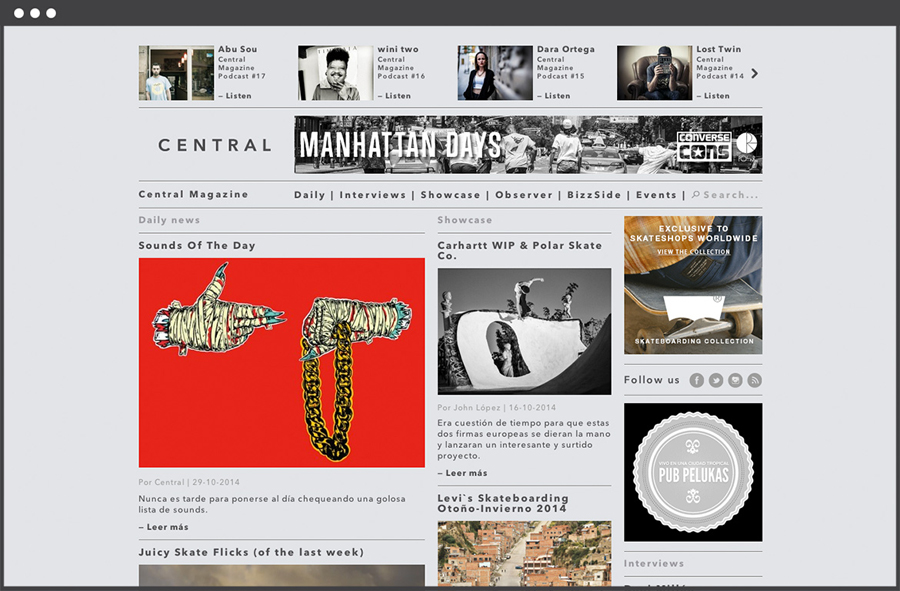 Website for Spanish art, design, fashion and pop culture magazine Central designed by Leon Jorge