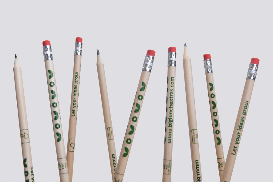 Branded pencils designed by Believe In for Eden Project's Big Lunch Extras