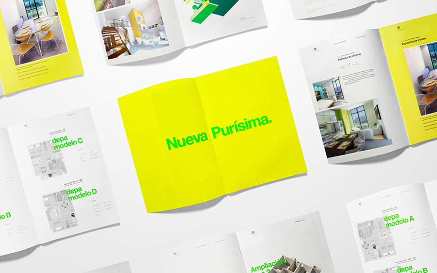 Brochure with fluorescent ink detail for El Semillero designed by Anagrama