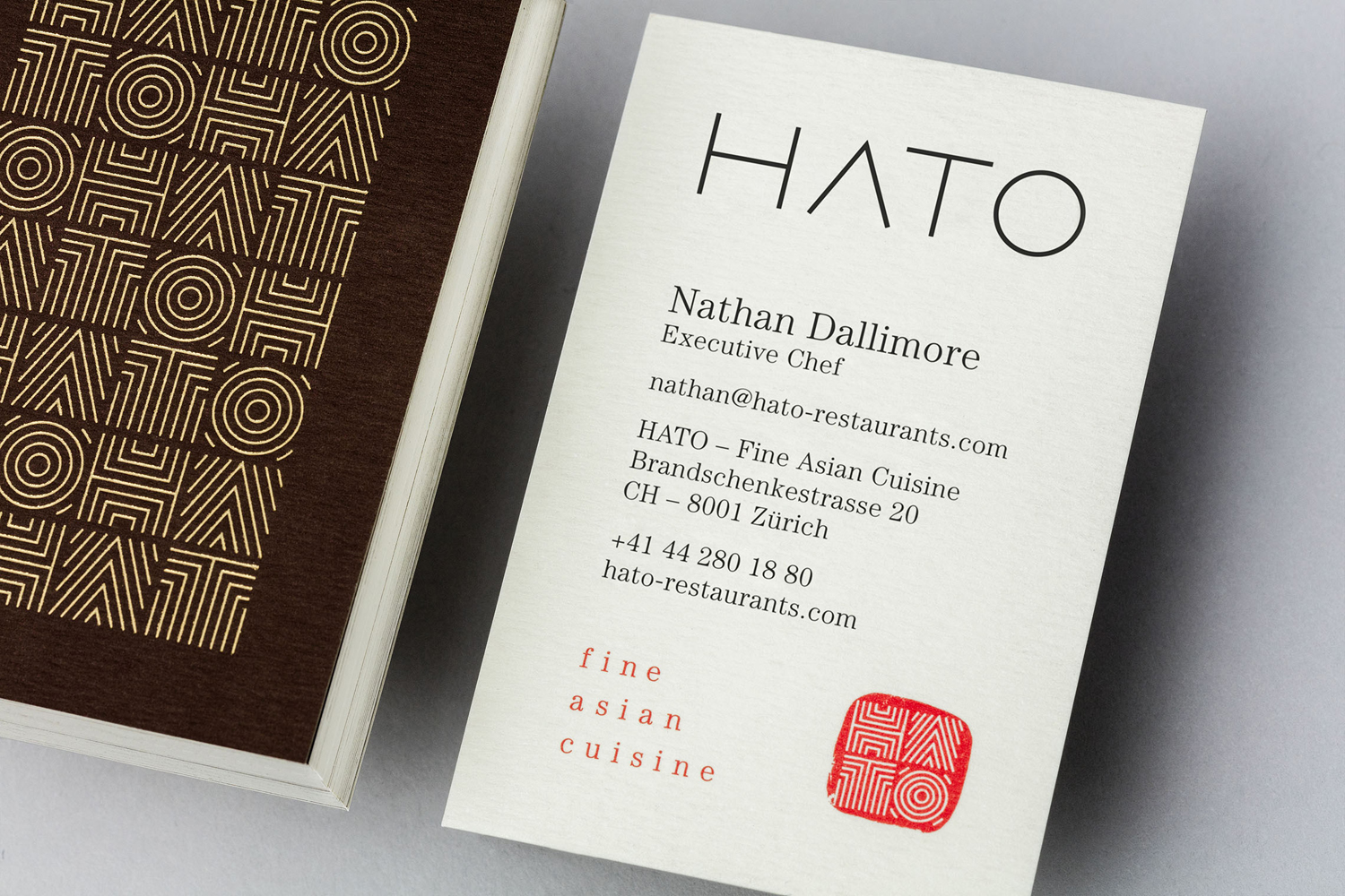 Brand identity and business cards for fine dining Asian restaurant Hato designed by Allink, Switzerland
