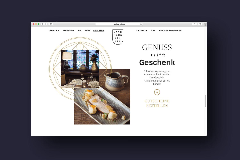 Brand identity and website by Austrian graphic design studio Seite Zwei for Graz-based restaurant Landhaus Keller.