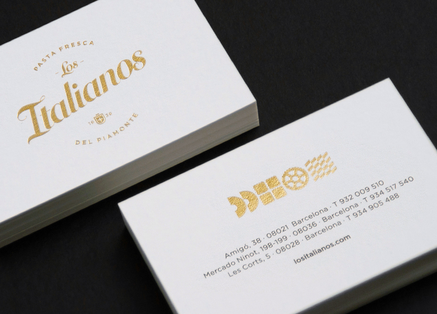 Gold foil business cards for Los Italianos designed by Huaman