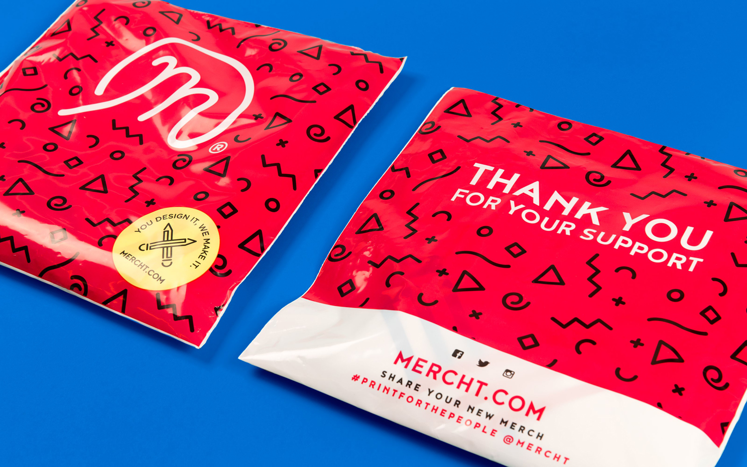 Brand identity and packaging for UK based custom merchandise business Mercht by Robot Food
