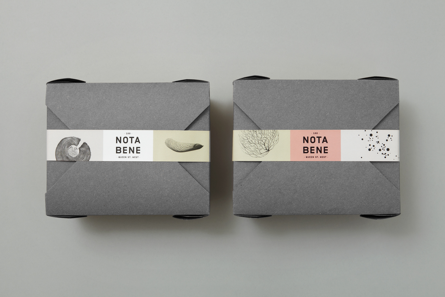 Brand identity and packaging for Toronto restaurant Nota Bene by graphic design studio Blok, Canada