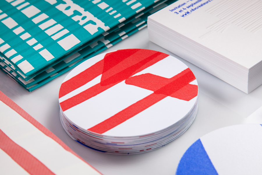 Visual identity and coasters designed by Marks for material and print finish exhibition Rendez-vous des créateurs 2014
