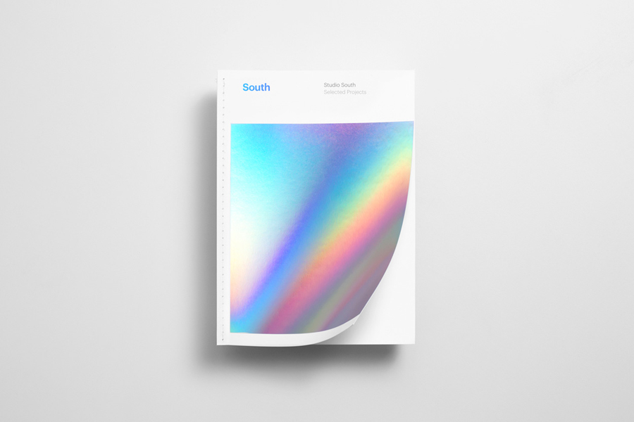 Print with large coverage holographic foil print finish designed by Studio South