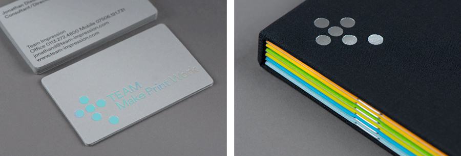 Foiled brochure and business cards for Leeds based print production business Team Impression by Design Project