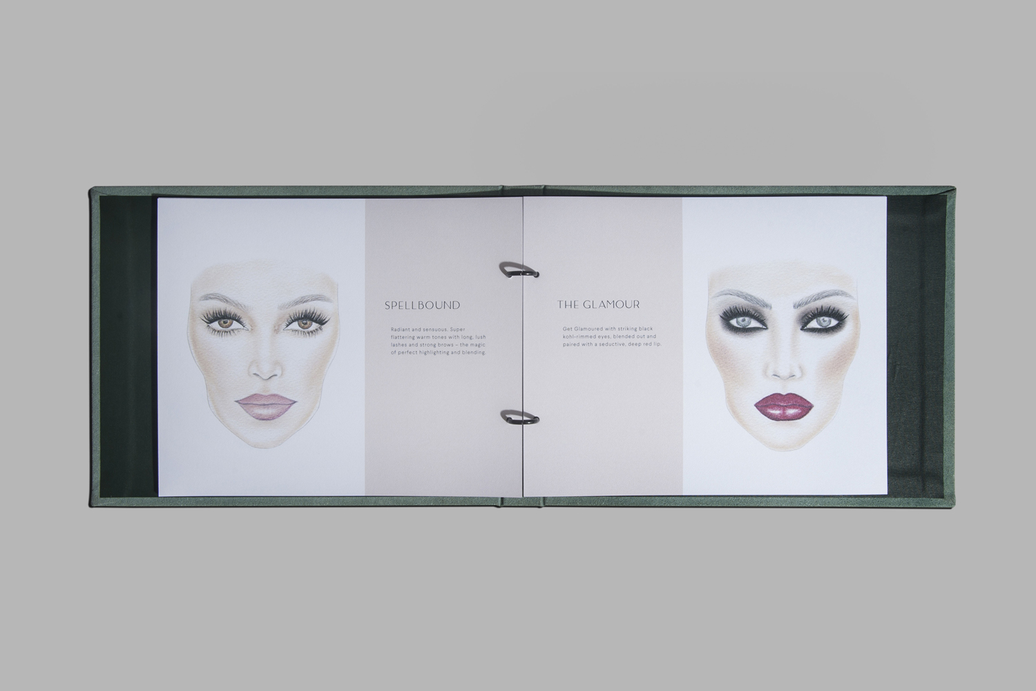 Illustrated menu by Canadian studio Glasfurd & Walker for Vancouver-based beauty salon The Glamoury.