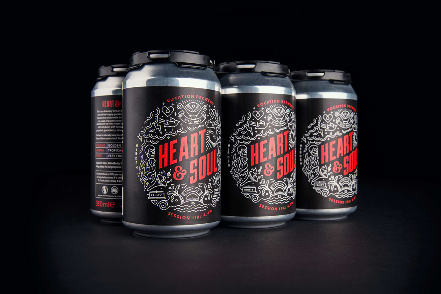 Illustrated packaging design by Robot Food for British craft beer brewery Vocation.