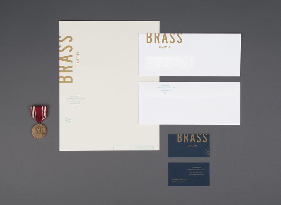 Stationery with blind emboss and bronze metallic ink detail for Somerville pub and cocktail bar Brass Union designed by Oat
