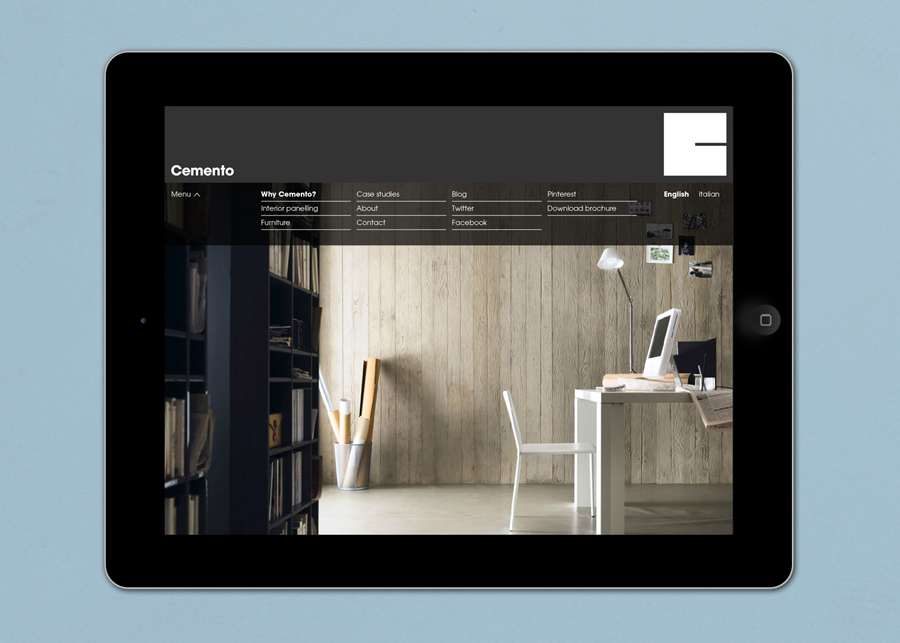 Logo and website designed by S-T for cement veneer product Cemento featured on BP&O
