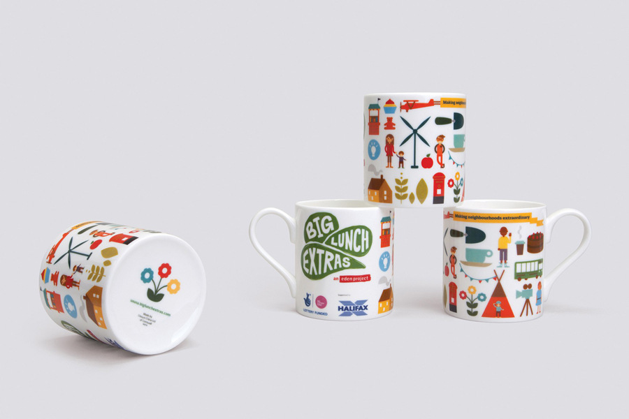 illustrated mugs designed by Believe In for Eden Project's Big Lunch Extras