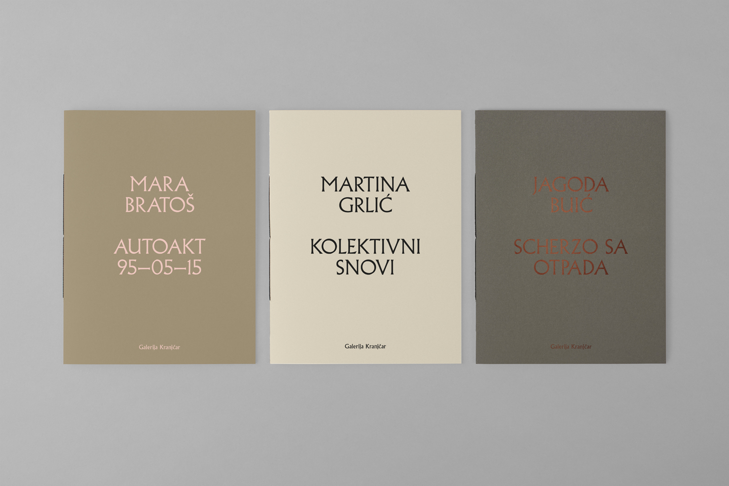Brand identity and individual exhibition brochures with block foil by Bunch for Zagreb-based modern art gallery Galerija Kranjčar.