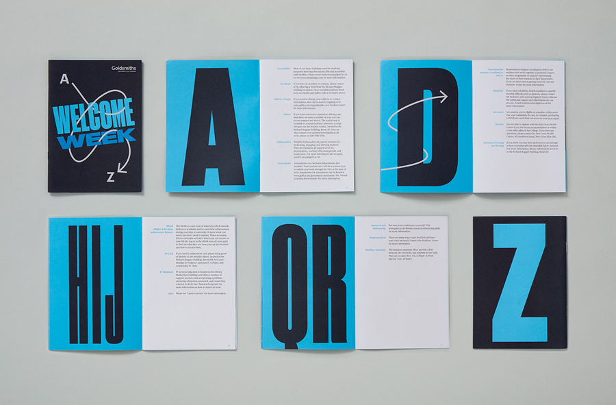 Brand identity and print for Goldsmiths, University of London by UK based graphic design studio Spy