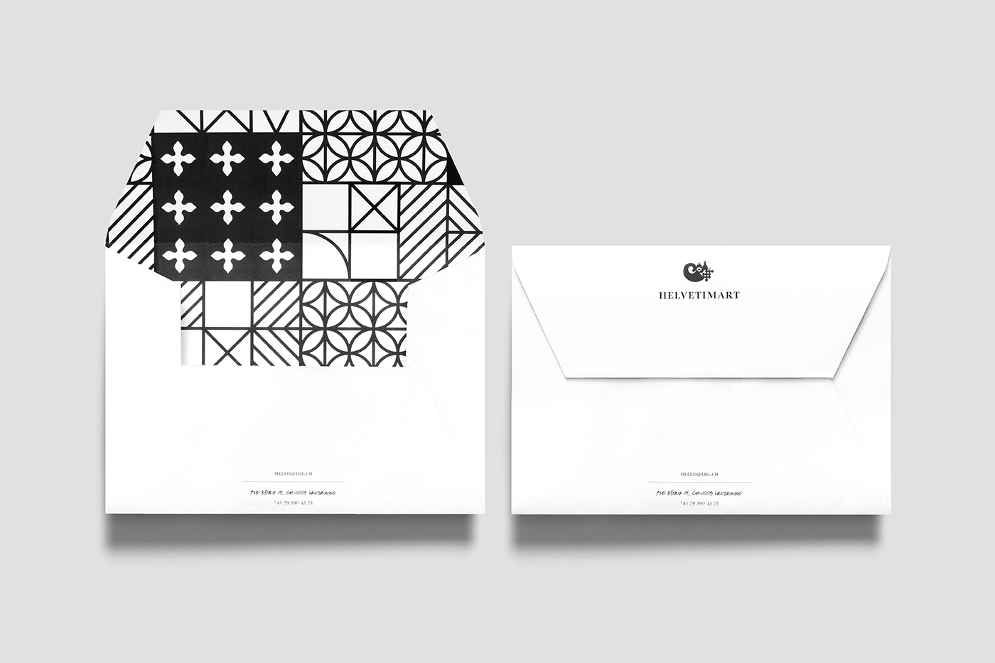 Brand identity and envelopes by Anagrama for Lausanne-based independent food and speciality supermarket Helvetimart
