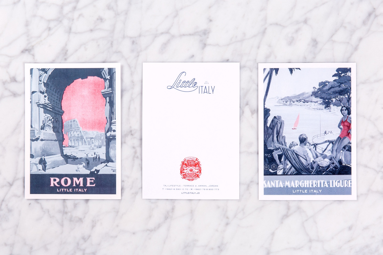 Brand identity and print by British studio Here Design for Amman-based restaurant Little Italy