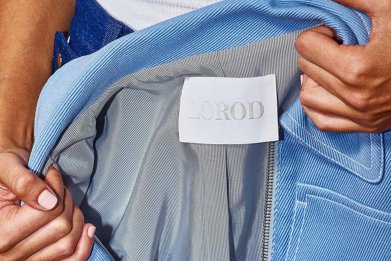 Wordmark and inside labels by Pentagram's Natasha Jen for fashion brand Lorod.