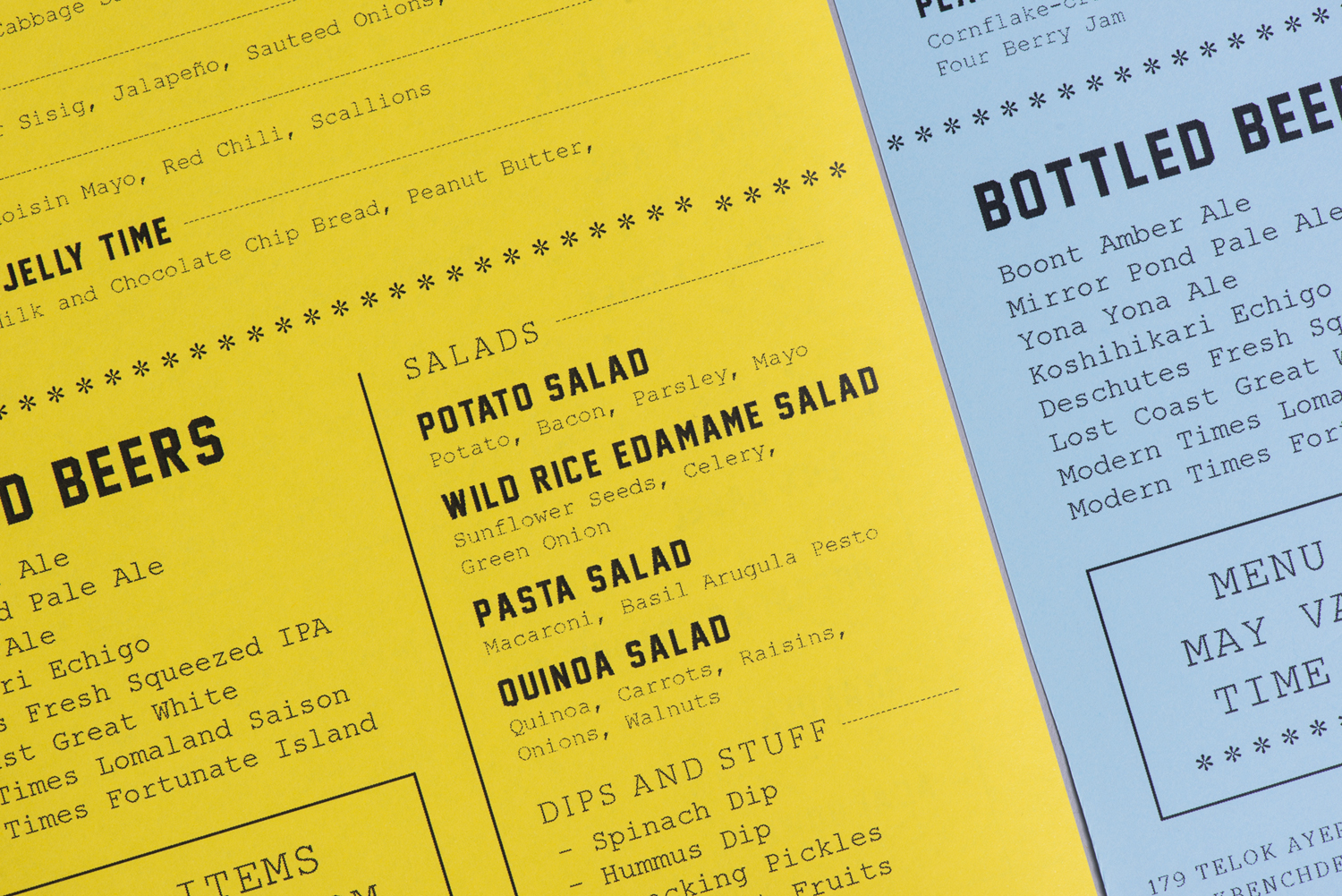 Menu Design – Park Bench Deli by Foreign Policy