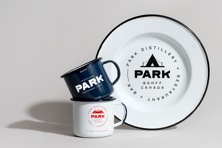 Branded enamelware for Canadian restaurant and distillery Park by Glasfurd & Walker