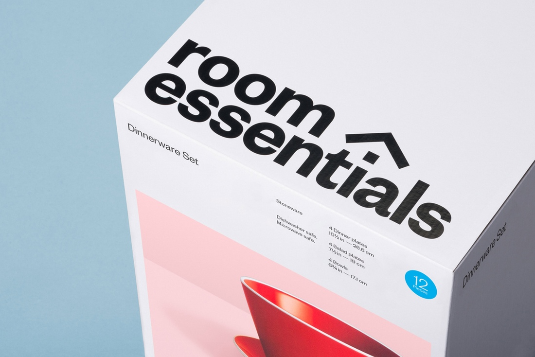 Logo, photography and packaging by Collins for Target's modernistic home furnishings range Room Essentials