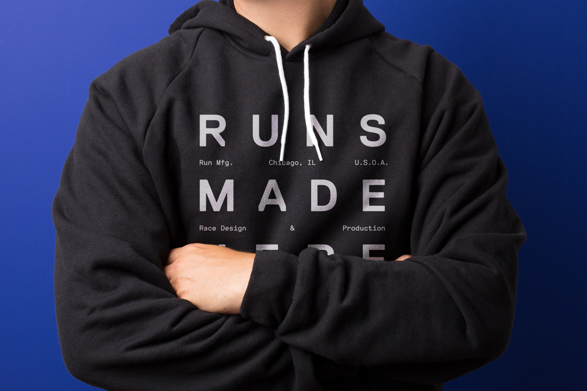 Branded hoody by Perky Bros for Chicago-based independent race design and production company Run Mfg