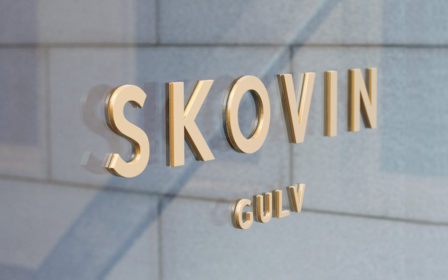 Signage designed by Heydays for Norwegian high-end wood flooring specialist Skovin