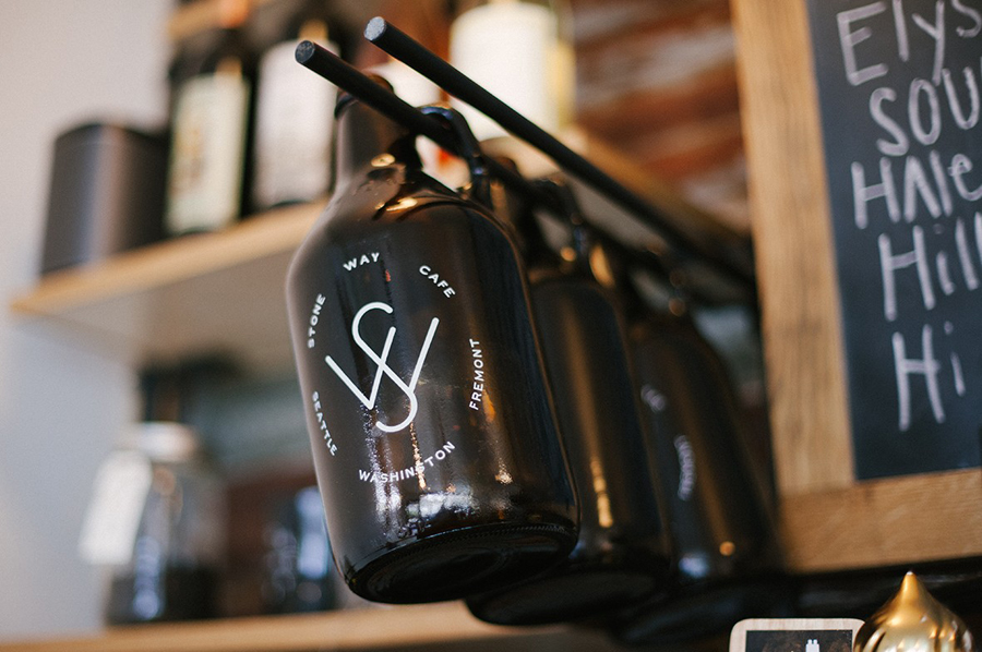 Brand bottles for Stone Way Cafe designed by Shore