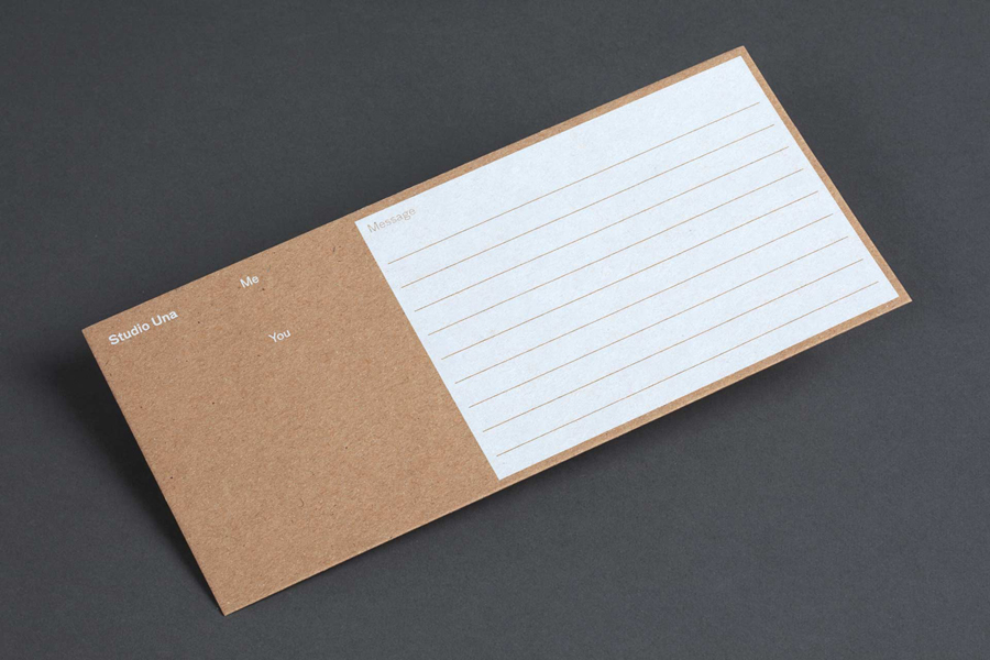 Branded notecard for German graphic design business Studio Una