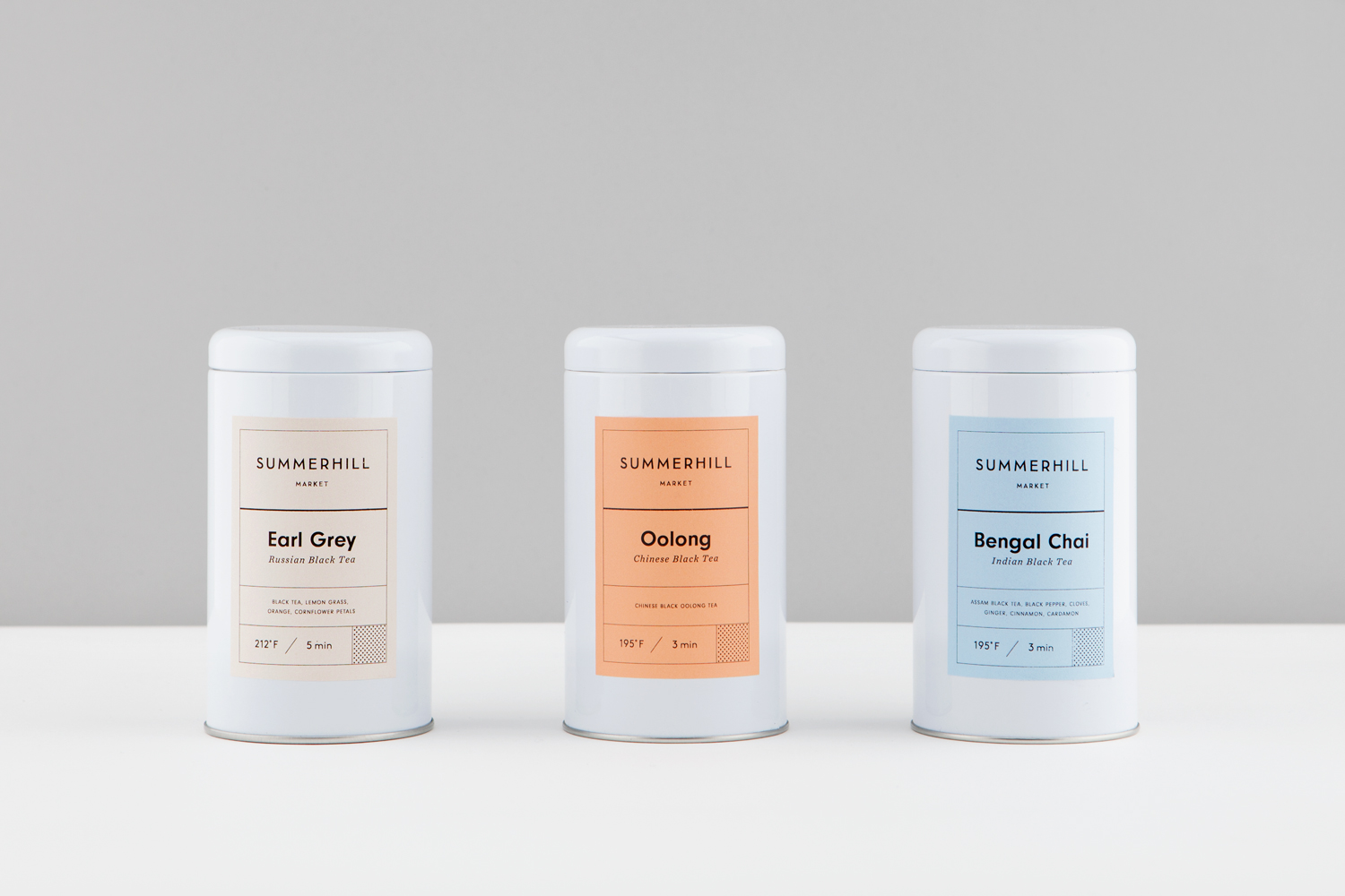 Branding and tea packaging designed by Canadian studio Blok for Toronto based boutique grocery store Summerhill Market