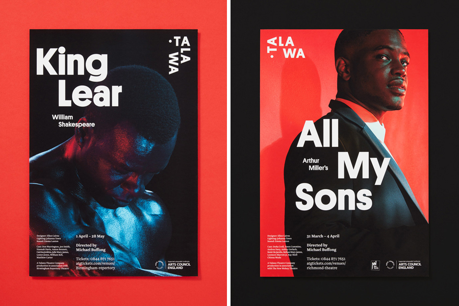 Branding and posters for UK all black theatre company Talawa by Spy