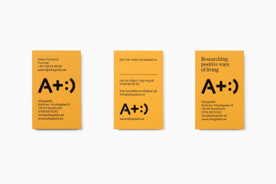 Yellow and black block foiled business cards for Swedish lifestyle store Adisgladis by Bedow