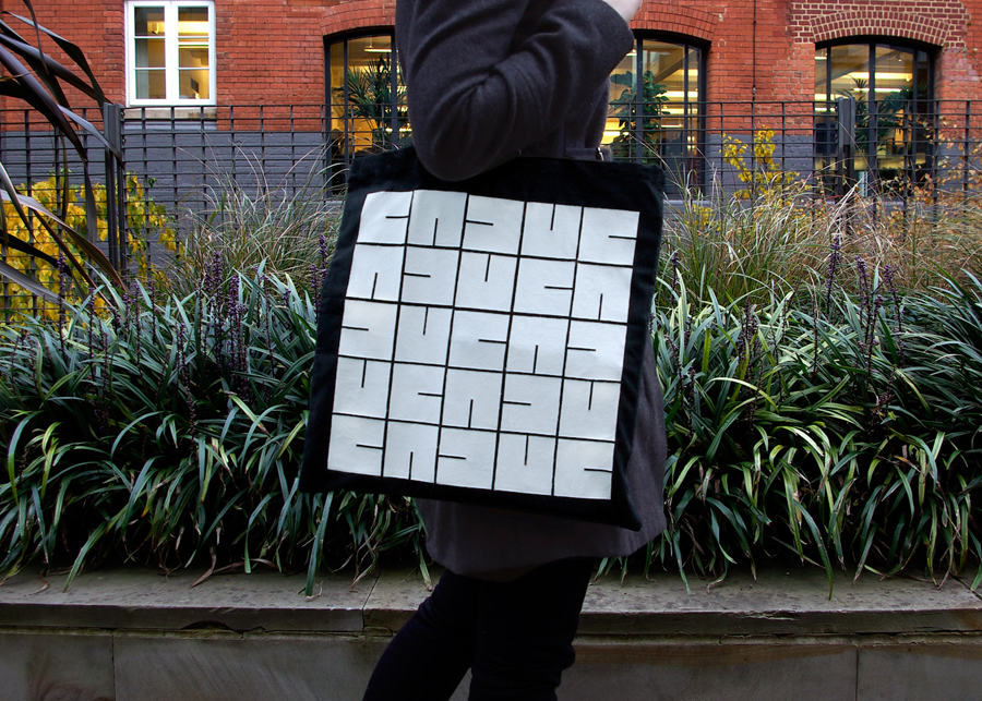 Logo and bag with white ink detail designed by S-T for cement veneer product Cemento featured on BP&O