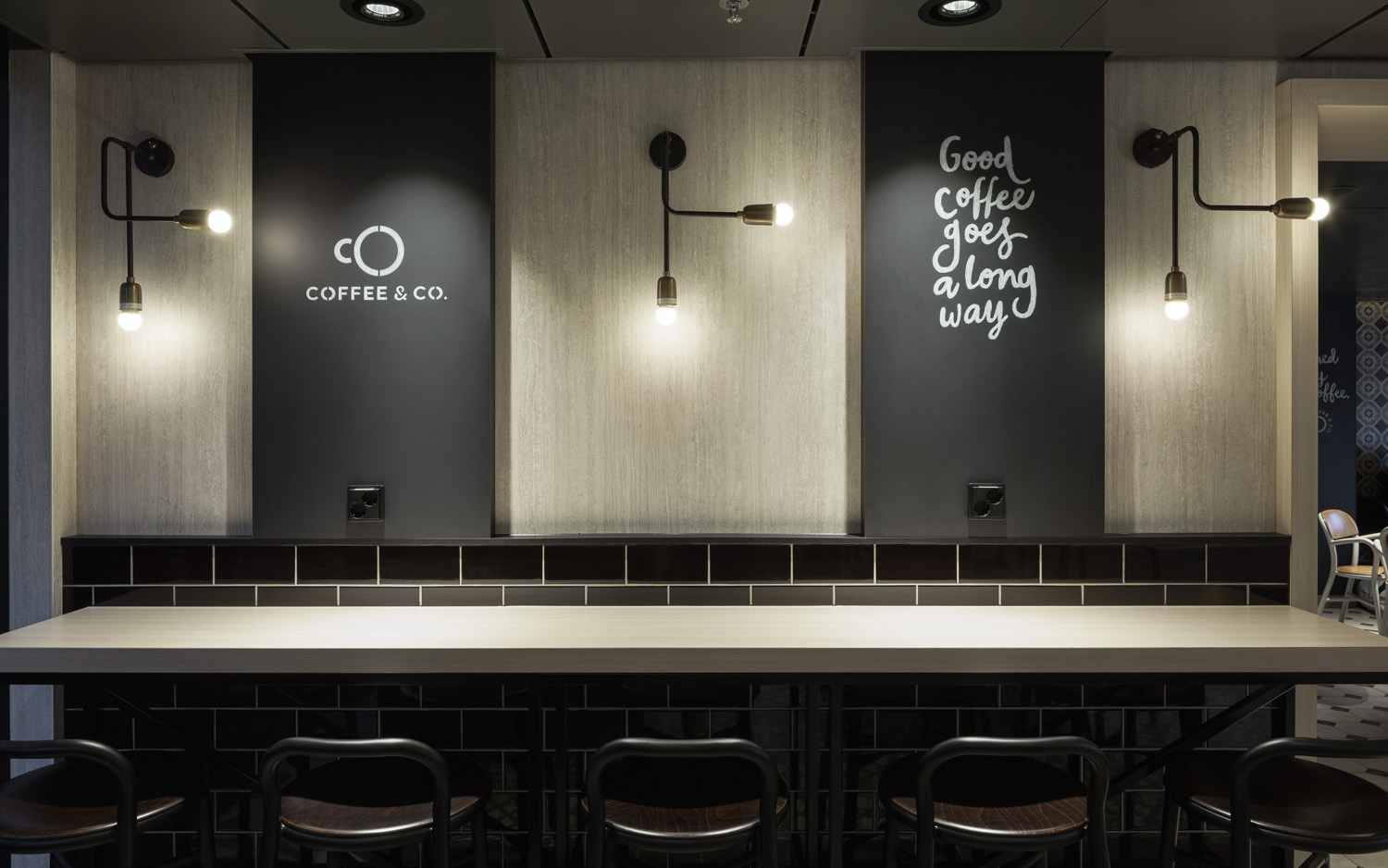 Interior graphics and logo design by Bond for cruise ship cafeteria concept Coffee & Co.